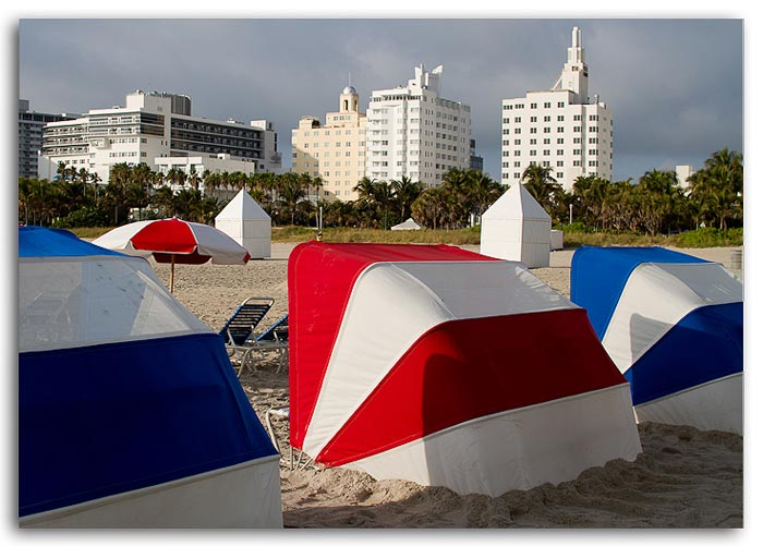 Photo of umbrella chairs at South Beach, Miami, Florida by Jim Austin