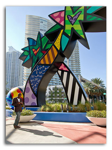 Photo of palm sculpture at South Beach, Miami, Florida by Jim Austin