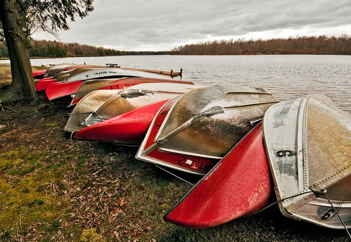 Photo of canoes on Lake Jean at Ricketts Glenn State Park by Robert Hitchman