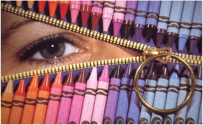 Jenney's Eye: Still life photo of zipper, crayons, and eye by Bill Black
