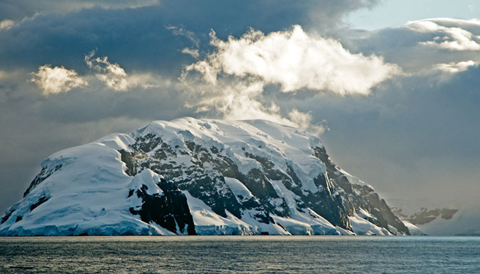 Photo of sunset on Bransfield Strait, Antarctica by Cliff Kolber
