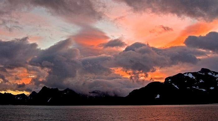 Photo of sunrise over Salisbury Plain, South Georgia, Antarctica by Cliff Kolber