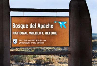Photo of Bosque del Apache Wildlife Refuge sign by Noella Ballenger