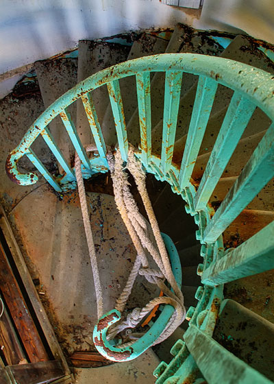 HDR image: Staircase up the torquoise green Great Stirrup Lighthouse in the Bahamas by Jim Austin.