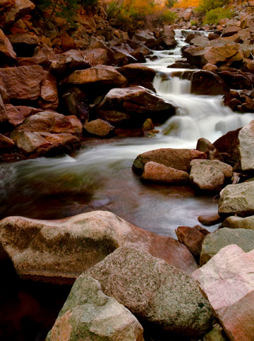 Photo of rocky mountain stream in autumn by Michael Leggero.