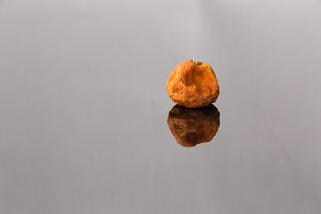 Reflection photo of orange, dried fruit with a 180mm macro lens and focal length of 180mm by Brad Sharp