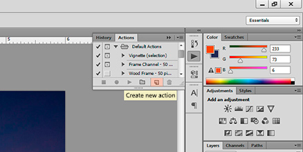 Screen shot of where Create new action is in Photoshop by Andy Long.