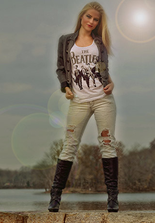 "Fashion photography: image of model Nicole presenting ""The Beatles"" taken with a smartphone camera by Allen Moore."