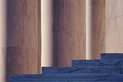 Close-up image of the pillars and steps of the Jefferson Memorial in Washington D.C. by Steve Gottlieb.