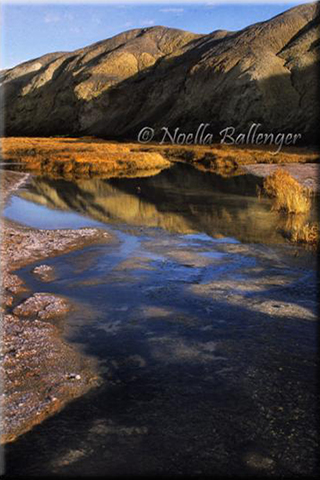 Photo of reflections of the hills in the water of Salt Creek in Death Valley by Noella Ballenger.