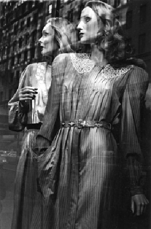 Black and white reflection & mannequin photo taken in Greenwich Village, New York by Marie-Claire Montanari