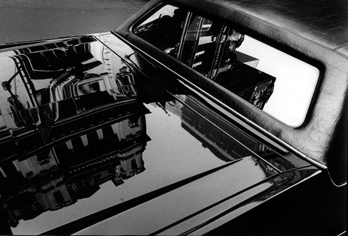 """Black and white photo called """"Reflection on Trunk of Car"""" taken in New York by Marie-Claire Montanari"""