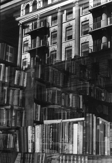 """Black and white photo called """"New York Village Bookstore"""" taken in New York by Marie-Claire Montanari"""