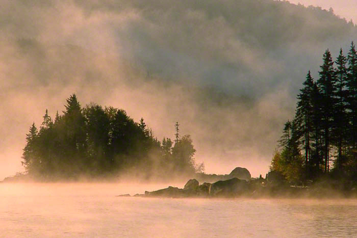 "Image of mist and fog on lake entitled ""Misty Island"" . photos that look like paintings"