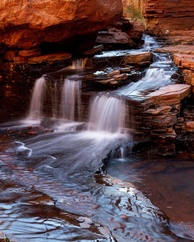 Photo of small strean and falls inside gorge, Western Australia by Barry Epstein