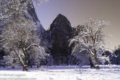Pre-photo manipulation - Yosemite National Park in winter by Michael Leggero