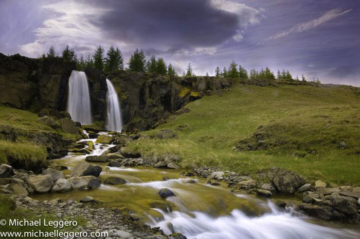Photoshop manipulated photo: Iceland roadside waterfall by Michael Leggero