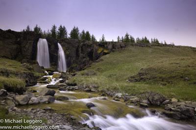 Pre-photo manipulation - Iceland roadside waterfall by Michael Leggero