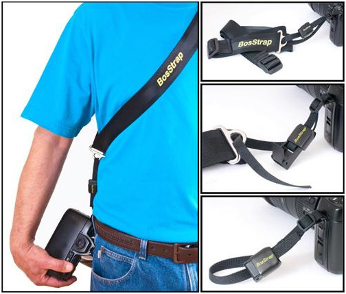 Photo of person wearing the BosStrap Generation 3 Sliding Sling Strap System with the New Patent Pending Generation 3 BosTail (G3 Tail)