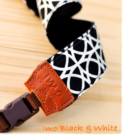Photo of black and white patterned iMO camera strap