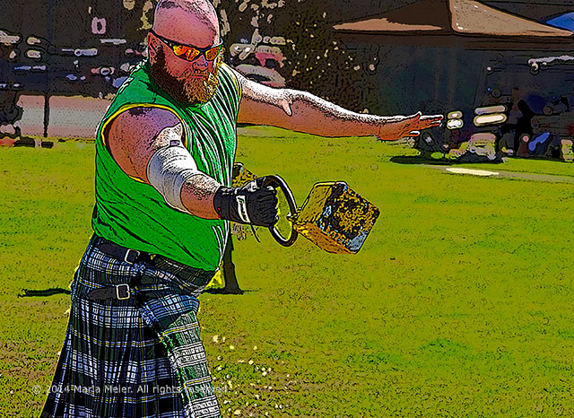 Protect your eye from harmful UV rays: Man participating in the stone throwing event at the Celtic Music adn Heritage Festival in St. Augustine, Florida by Marla Meier.