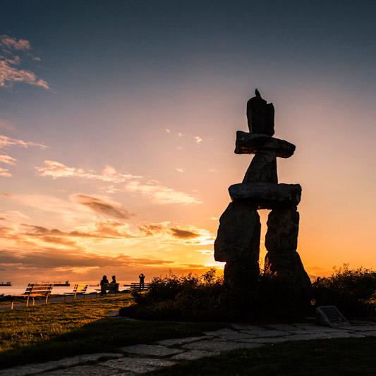 Inukshuk Silhouette, Vancouver, Canada