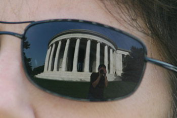 Photo of Jefferson Memorial, Washington, D.C. reflected in sunglasses