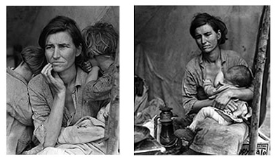 Dorothea Lange's 'Migrant Mother' photo composite from 1935