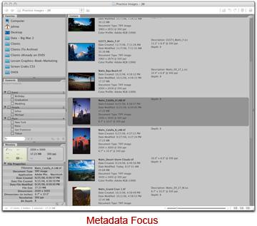 Screen shot of Adobe Bridge metadate focus by John Watts