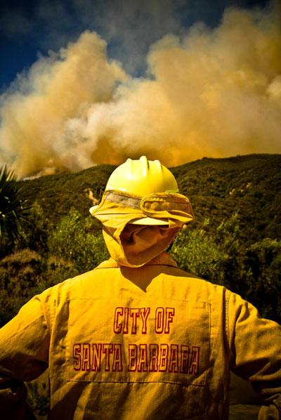 Photo of a Santa Barbara City fireman and smoke during Jesusita Wildfire in Santa Barbara by Michelle Wong