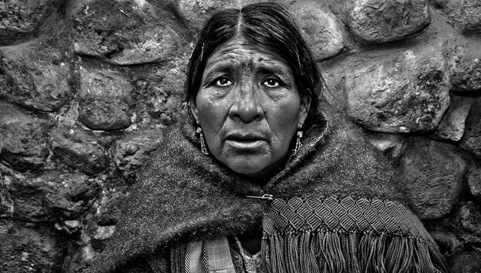 Black and white photo portrait of Bolivian woman by Michelle Wong