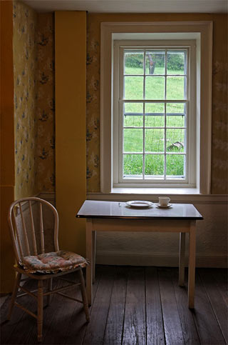 Photographing Historial Place: Kuerner Farm farmhouse kitchen wtih table and chair by Gary Anthes.