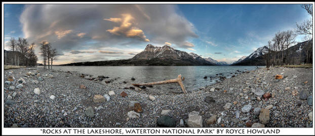 HDR photo of Rocks at the Lakeshore, Waterton National Park by Royce Howland.