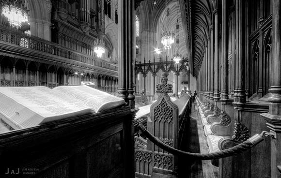 """Black and white HDR image of """"Great Choir"""" at the Washington National Cathedral by Jim Austin."""