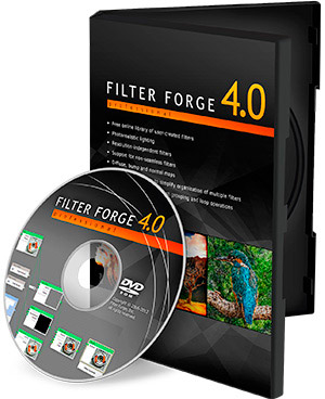 Image of Filter Forge 4.0 box and CD.