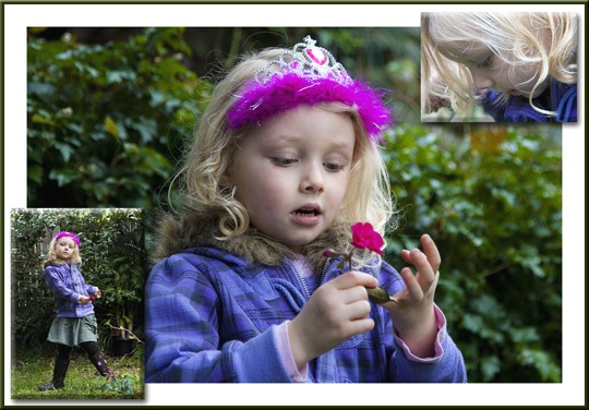 Photo portrait collage of a young child wearing a pink feathered tiara outside with green bushes for a backdrop by Cathy Topping.