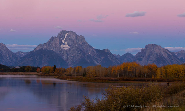 Image of Oxbow Bend, Tetons National Park, Wyoming: The water, trees, and mountain leading to the sky not only set up textural layers, but compliment Mount Moran by Andy Long.