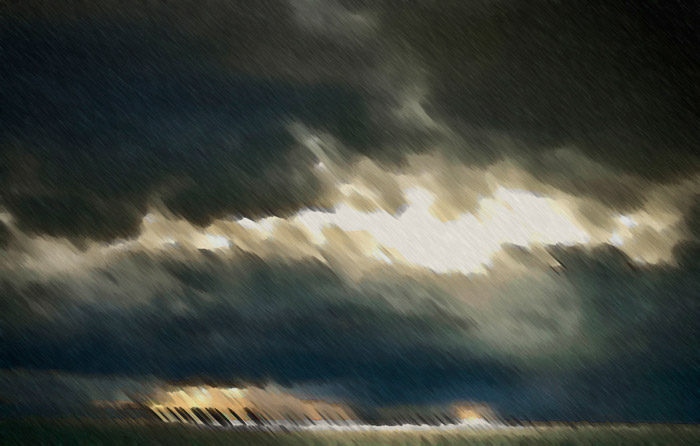 Photo of storm clouds over Pacific Ocean turned into a painting by Noella Ballenger