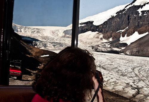 """Photo of Athabascan Glacier in Canada taken from """"ice bus"""" by Noella Ballenger"""