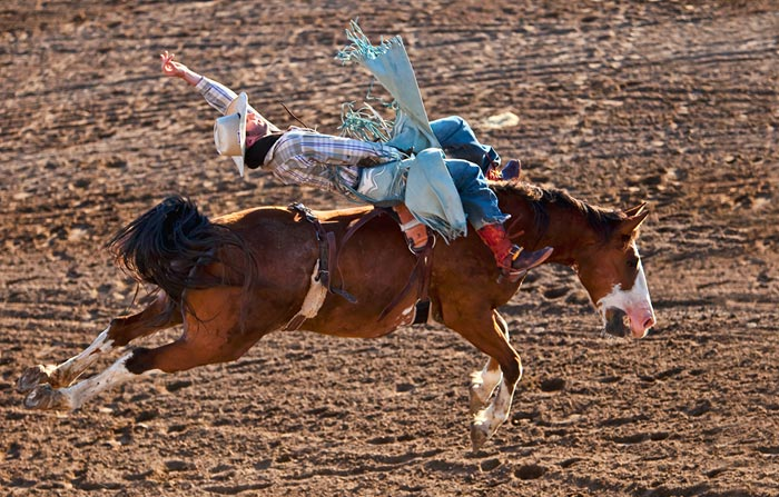 Stop action photography: Cowboy riding saddle bron horse by Brad Sharp.
