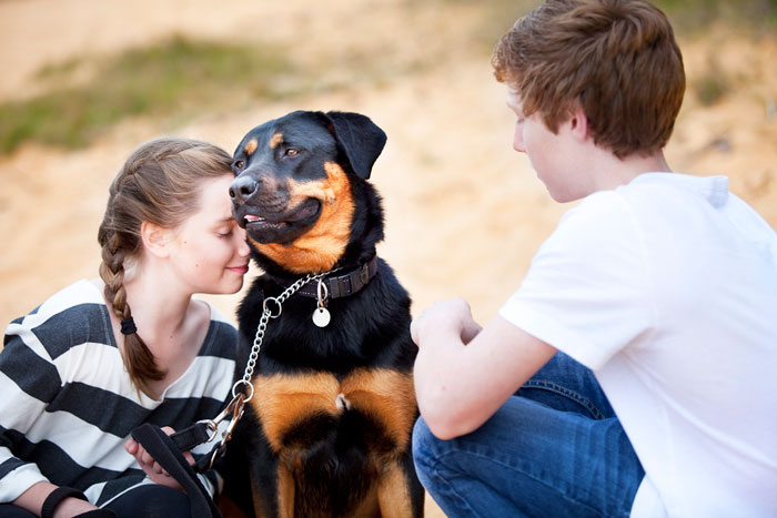 Photo of kids with their Rottweiler adopted from DCH Animal Adoptions in Sydney, Australia by Cathy Topping