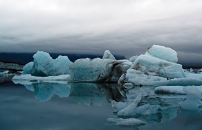 Photographic Travels in Iceland: Image of blue ice at the Jökulsárlón Iceberg by Michael Legerro.