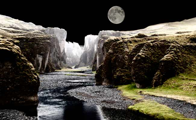 Photographic Travels in Iceland: Secret location of glacier and moon at night by Michael Legerro.