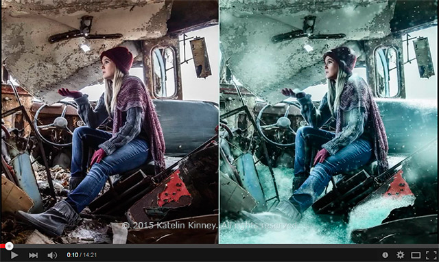 Before and after screen of showing the creation of snow in Photoshop by Katelin Kinney.