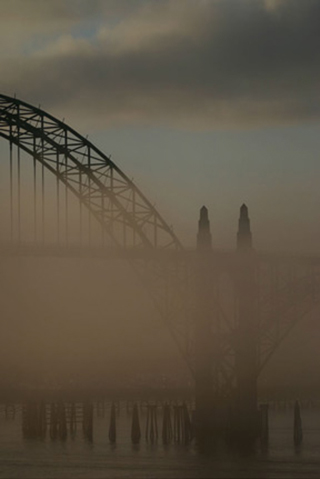 Image of a bridge and its reflection in the fog by Andy Long.