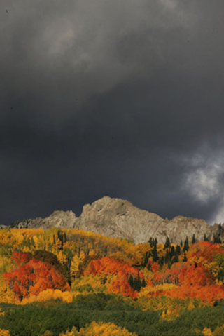 Landscape image of fall trees, rocky mountains and storm clouds by Andy Long.