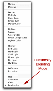 Screen shot of Luminosity Blending Mode in Photoshop by John Watts
