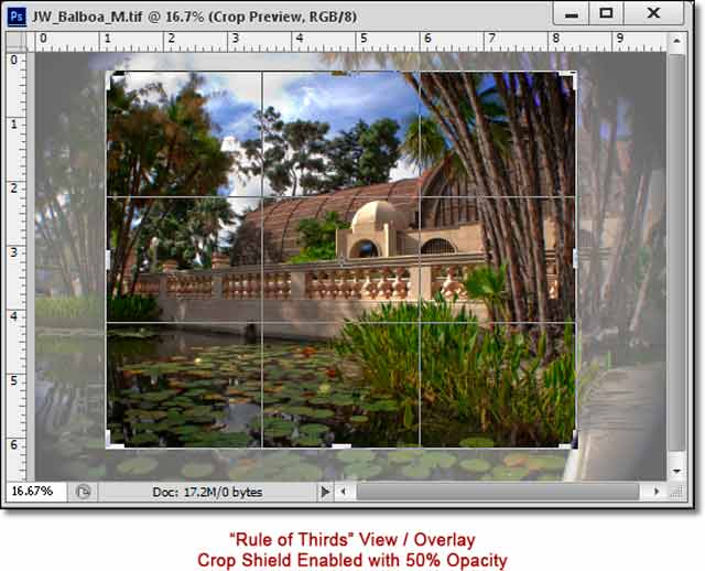 Photoshop CS6 - Innovative New Crop Tool: screen shot of lily pond and showing rule of thirds / Overlay with Crop Shield Enabled by John Watts.