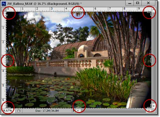 Photoshop CS6 - Innovative New Crop Tool: screen shot of lily pond and Crop Handles by John Watts.
