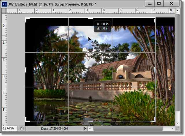Photoshop CS6 - Innovative New Crop Tool: screen shot of lily pond and Crop Box by John Watts.